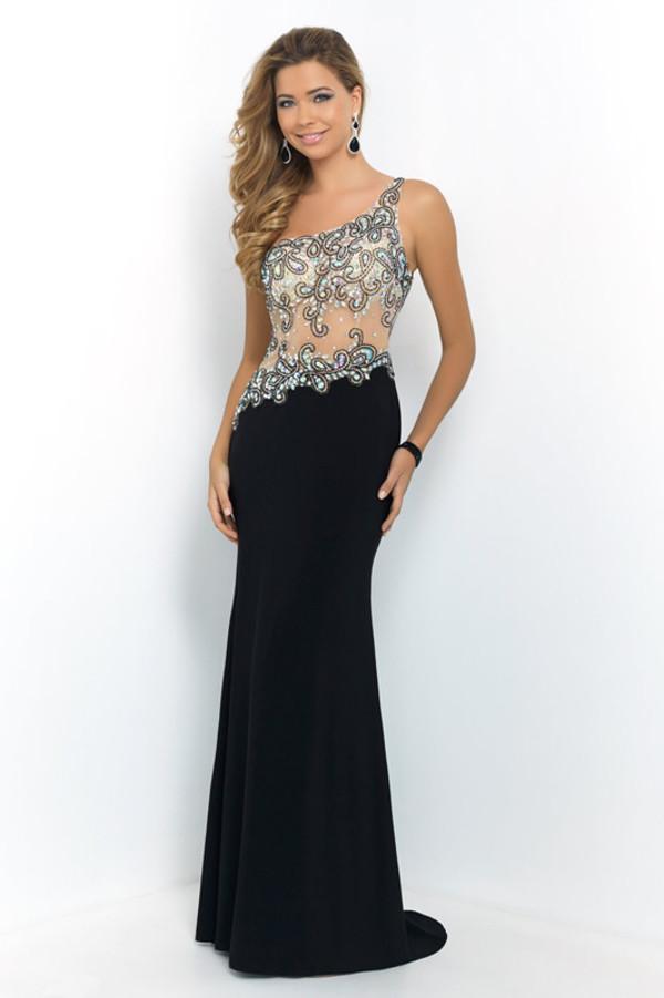 black dress one-shoulder prom dress long evening dress free shipping dress prom dress