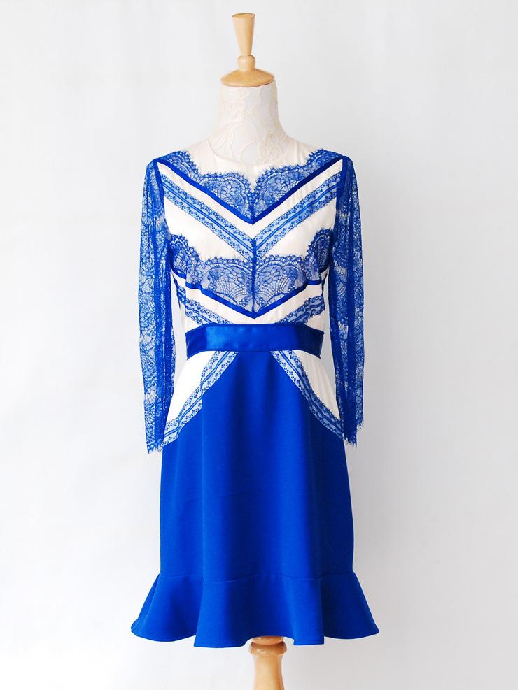 High quality autumn fashion star left bank eyelash lace ruffle dress one piece dress free shipping lq327