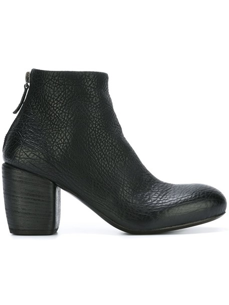 heel chunky heel women ankle boots leather black shoes