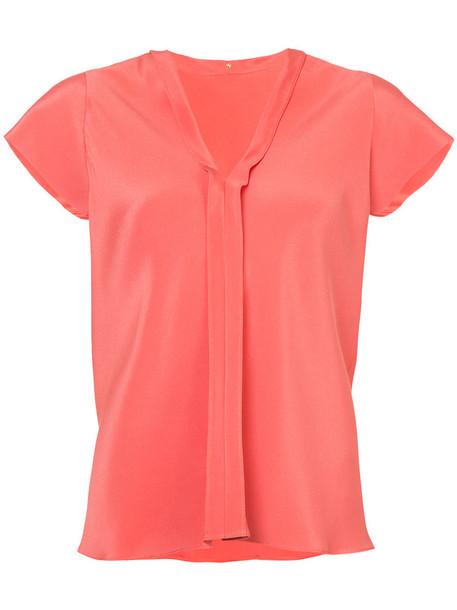 Peter Cohen blouse women silk yellow orange top