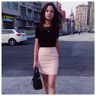 skirt style pink skirt black top classy