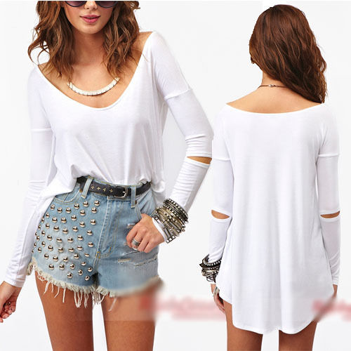 Casual loose fashion womens basic elbow cut out white top t