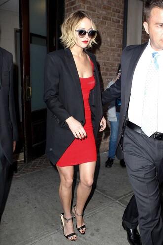 sandals dress sunglasses jennifer lawrence red dress