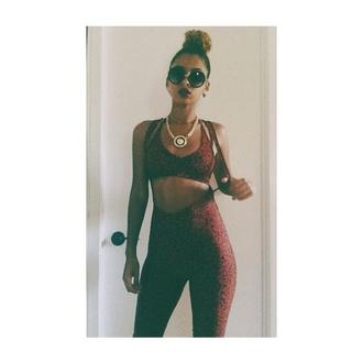 pants red dope fashion clothes women leopard print print suspenders leggings animal