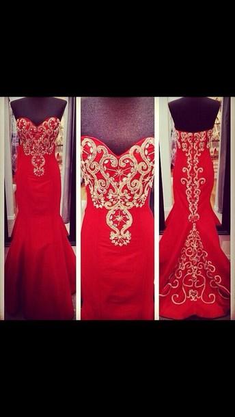 dress red mermaid prom dress
