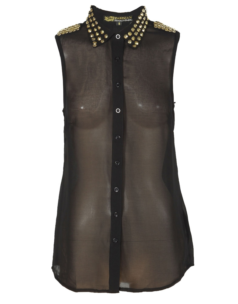 Black sheer studded collar epaulette sleeveless shirt