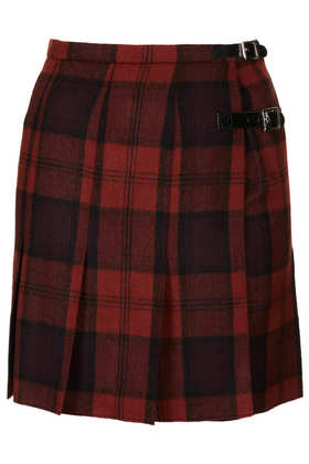 Red Check Spliced Kilt - Topshop