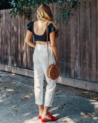 top tumblr crop tops black top pants white pants cropped pants sandals mules red sandals bag round bag shoes