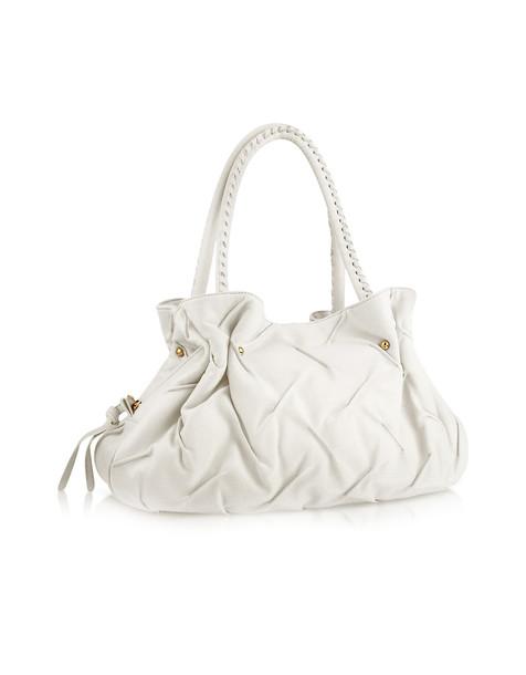 satchel pleated bag satchel bag leather white