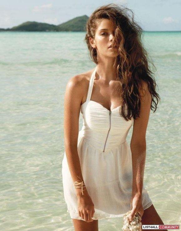 New Womens Guess Mirage Ingrid White Halter Chiffon Smocked Cocktail Dress M 8 | eBay