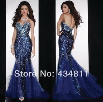 dress blue dress rhinestones prom dress sparkly dress