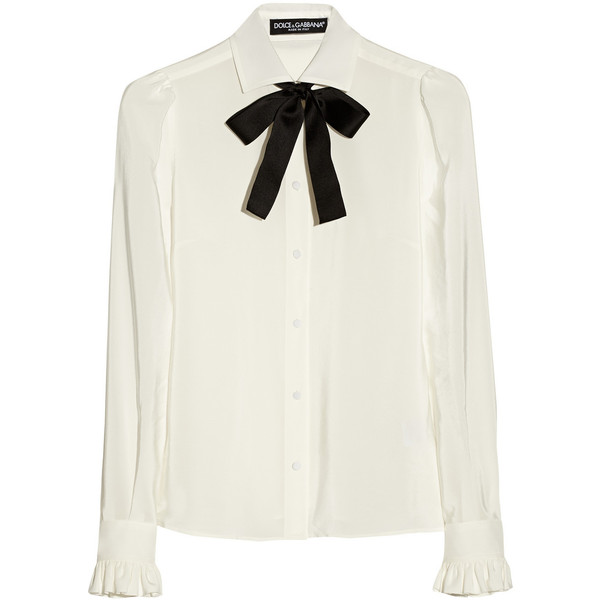 Dolce & Gabbana Silk crepe de chine pussy-bow blouse - Polyvore