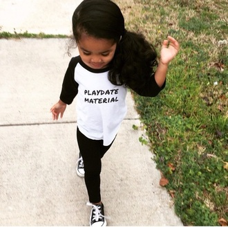 shirt play date printed t-shirt leggings black leggings converse black and white style fashion ella jayce curly hair kids fashion kids clothes toddler