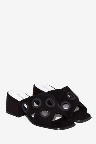 shoes jeffrey campbell studded shoes mules black shoes thick heel summer shoes summer accessories classy suede shoes cut out shoes sandals suede mule