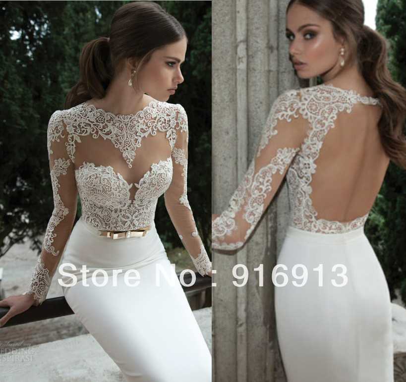 75e42bfd802 Sexy Illusion Jewel Neck Applique Backless Berta Bridal Long Sleeve Sheath  Wedding Dresses Floor Length Bridal Gowns open back ...