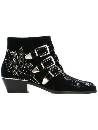 women boots susanna boots leather blue velvet shoes