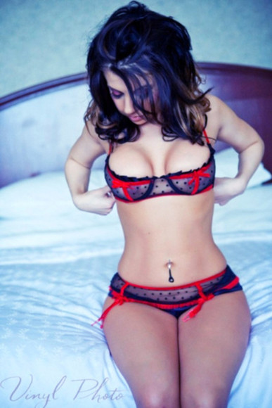 red underwear black underwear underwear see through lingerie sexy lingerie red bow polka dots