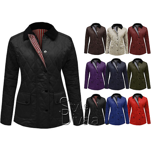 LADIES WOMEN QUILTED NEW PADDED BUTTON JACKET ZIP COAT NAUTICALTOP SIZES 8-20   Amazing Shoes UK