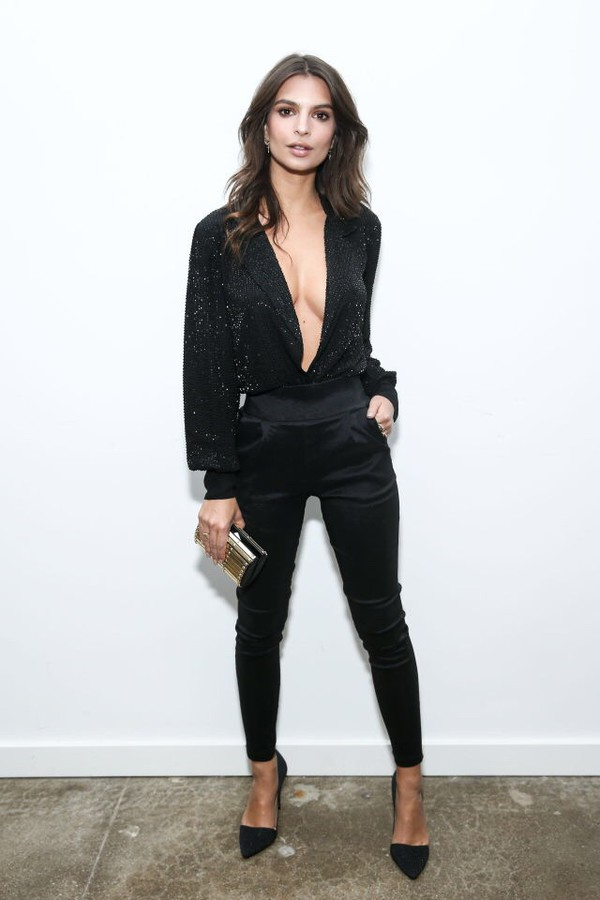 pants blouse pumps emily ratajkowski model off-duty shoes
