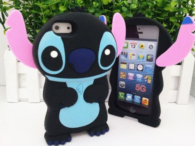detailed look f0cad 4645d Disney 3d Stitch Protective Silicone Case Cover for New Iphone 5 - Black