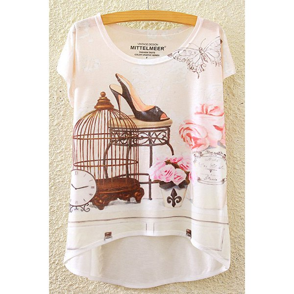 Stylish Round Neck Short Sleeve Floral and Butterfly Print High-Low Hem T-Shirt For Women