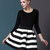 Black White Striped Three Quarter Length Sleeve Stripe Dress - Sheinside.com