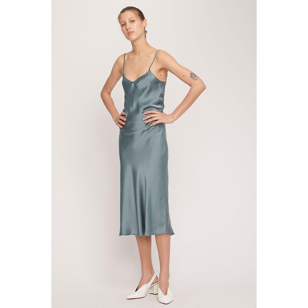 90'S SILK SLIP DRESS - PACIFIC BLUE