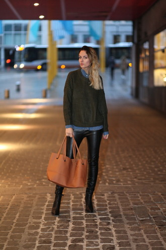 from brussels with love blogger sweater shirt leggings shoes bag handbag brown bag green sweater black leather pants blue shirt