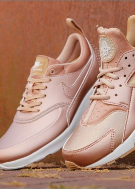 shoes, pink, gold, bronze, metallic, nike, air max, sneakers, rose ...