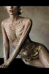 swimwear,underwear,bodysuit,elegant,gold,bones,skeleton,sexy halloween costume