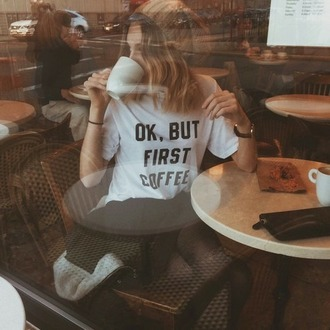 t-shirt white coffee shirt top casual tshirt. graphic tee white t-shirt oversized funny funny shirt black black and white black and white tee tumblr cute quote on it