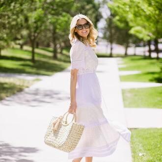 dress tumblr midi dress white dress lace dress white lace dress bag woven bag short sleeve dress sunglasses