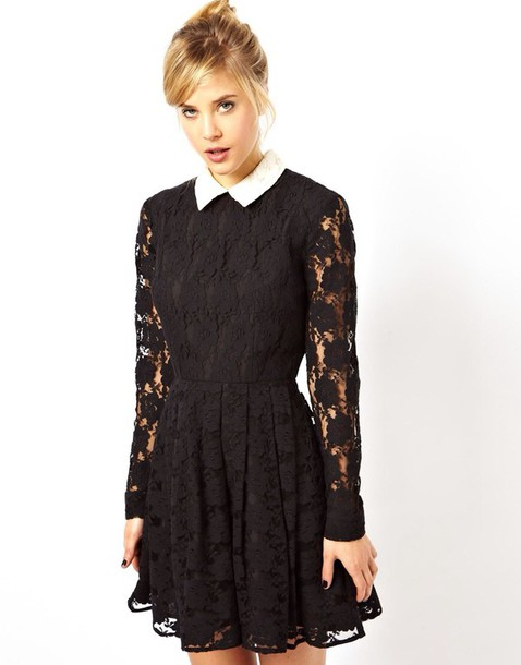 dress skater dress black lace collar teenagers