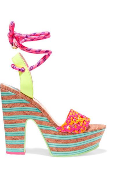 neon sandals platform sandals leather pink shoes