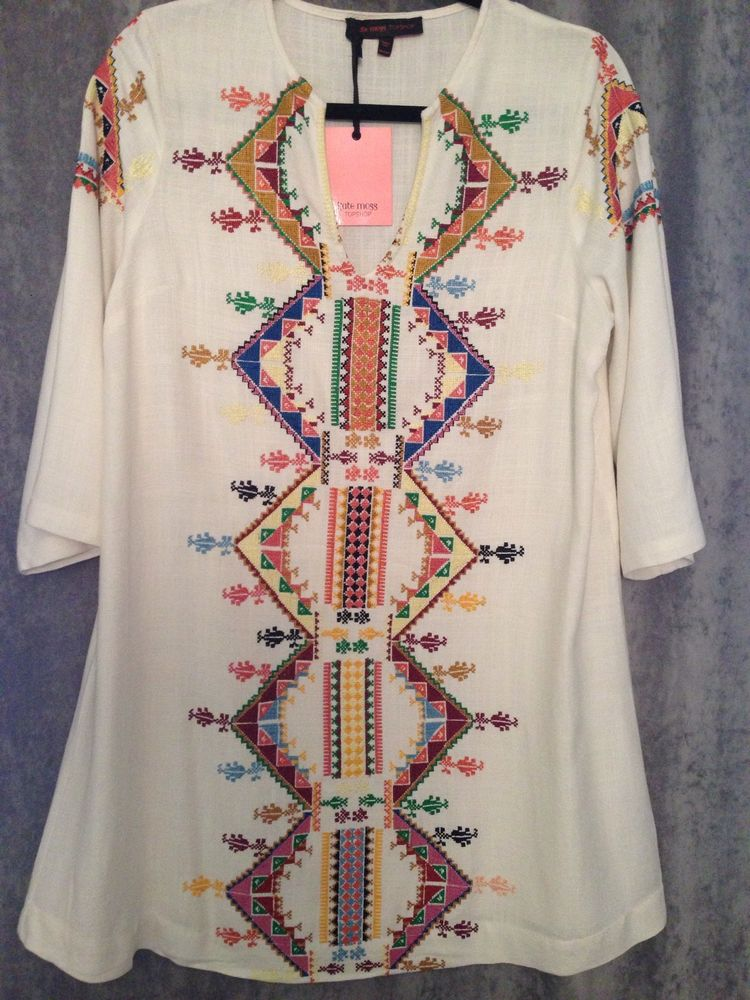 KATE MOSS FOR TOPSHOP EMBROIDERED SMOCK DRESS US SIZE 8 UK 12