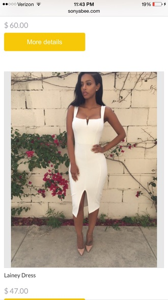dress white sexy long sonyabee the_jodiejoe black girls killin it african american white dress nude heels pointy toe heels hot neckline beige