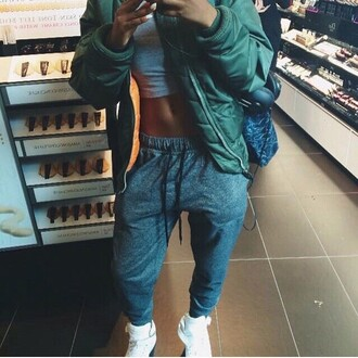 jacket green jacket sweatpants joggers crop tops cropped nike ootd