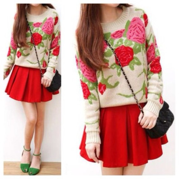sweater beige sweater knitted sweater floral sweater roses