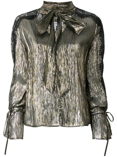 Perseverance London blouse metallic women silk grey top