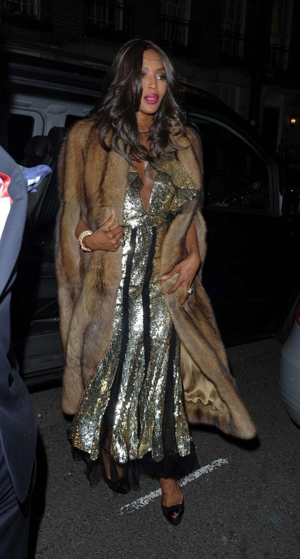dress, naomi campbell, gown, sequins, sequin dress, fur ...