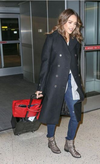 bag coat ankle boots jessica alba fall outfits purse