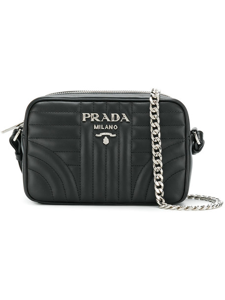 Prada cross women quilted bag leather black
