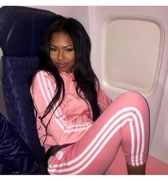 pants pink white sweatpants jacket