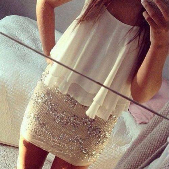 skirt beige skirt cute beige and silver bodycon dress white blouse formal night out silver sequence serena van der woodsen little black dress prom dress cute dress cocktail party dress party tank top shirt sparkle dress dress selfie sexy fashion trendy love it blouse