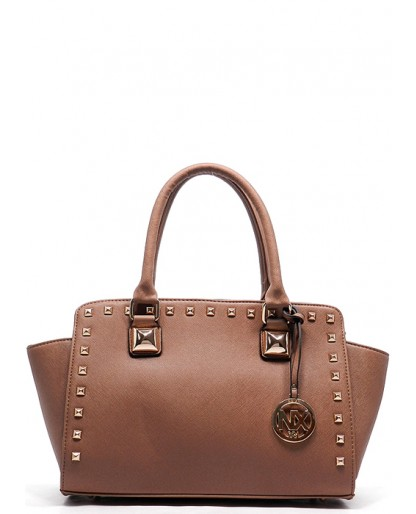 Trendy Clothing, Fashion Shoes, Women Accessories | Studded Satchel in Tan  | LoveShoppingMiami.com