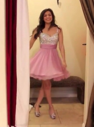 dress pink dress prom dress sparkle dress silver