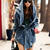 Blue Denim Asian Fashion Hooded Coat With Waist Gathering
