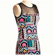 dress,tribal pattern,colorful,mesh