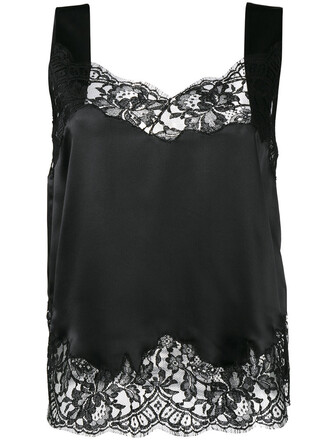 top lace top sleeveless women lace cotton black silk