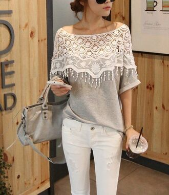 sweater gray heather lace spring light weight soft comfy anthropologie blouse